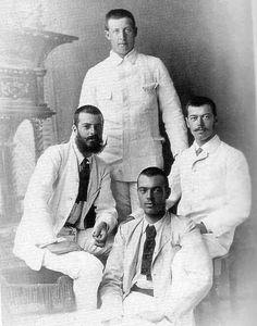Николай Александрович с кузенами - принц Георг (Греция), Александр (Сандро) и Сергей Михайлович, 1890...