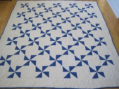 """Blue and White """"Windmill"""" Quilt"""