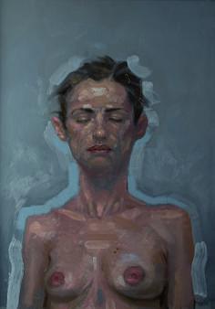 FEMME EN GRIS, huile sur bois, 2012 - Craig hanna