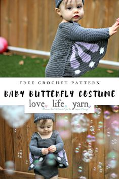 This little crochet baby butterfly costume is just the cutest thing! Easy, fun, and free! Crochet Bebe, Crochet Girls, Crochet For Kids, Free Crochet, Crochet Toddler Sweater, Crochet Baby Clothes, Free Baby Patterns, Crochet Patterns, Diy Butterfly Costume