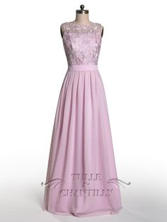 dramatic vintage lace bridesmaid dress with flowing chiffon skirt