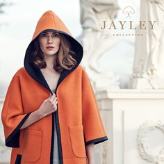 MUST HAVE ITEM Orange Hooded Contrast Coat - Now in stock!