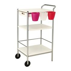 "BYGEL Utility cart - IKEA: only $25 and can add bins, hooks, and/or storage ""cups"" as shown."