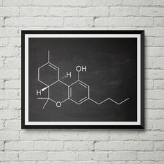 THC Molecule Print - Marijuana, Cannabis, Weed, Smoking, Legalize, Stoner, Schematic, Vintage, Blueprint, Wall Decor, Wall art, Cool Gift!