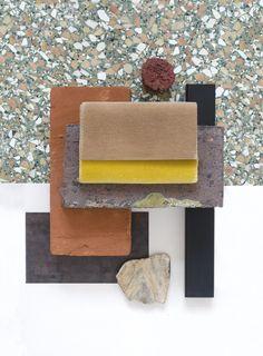 New Material Mood for a private residence in Copenhagen - Dark Weathering Steel & Raw Bricks #decastelli #steel #muscovit #minerals #kvadrattextiles #håkon #velvet #curry #beige #colors #composit #red #interior #architecture #design #materials #materialmood #moodboard #studiodavidthulstrup