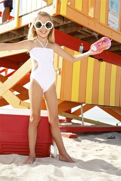 The Peixoto Kids Juju One Piece will be a classic addition to your swimwear collection. The Kids Cut Out One Piece in white is stunning and the cut outs are just the touch that makes it so unique. This one piece will be your little girls new favorite swimsuit. #kidsonepiece