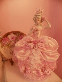 Decadent Pink  Marie Queen Princess Antq Tree Topper Half Doll-shabby,chicmpink,roses,lace,rhinestones,vintage,antiqque,french,marie antoine...