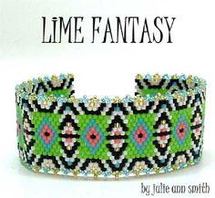 LIME FANTASY BRACELET BEADING PATTERN ~ Julie Ann Smith Designs at Sova-Enterprises.com