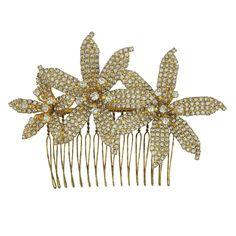 Jennifer Behr Gold Crystal Frances Orchid Comb   SOPHIESCLOSET.COM   Designer Jewelry & Accessories