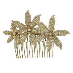 Jennifer Behr Gold Crystal Frances Orchid Comb | SOPHIESCLOSET.COM | Designer Jewelry & Accessories