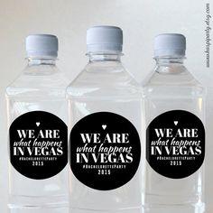 Bachelorette party custom stickers - Tumbler stickers - Bottle stickers - Cup stickers - We are what happens in Vegas - Black - Set of 12