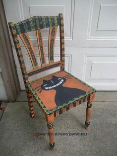 Halloween Chair Hand Painted Cat Folk by KimberlyBarnesArt on Etsy - Diy Furniture Beds Ideen Art Furniture, Funky Furniture, Furniture Makeover, Antique Furniture, Furniture Design, Dresser Furniture, Decoupage Furniture, Black Furniture, Farmhouse Furniture