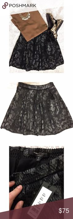 """NWT Romeo and Juliet Couture skirt NWT -- Faux leather lace overlay skirt by Romeo and Juliet Couture. Banded waist with back zipper. Measurements laying flat: waist - 13"""", length - 18"""" Romeo & Juliet Couture Skirts Mini"""
