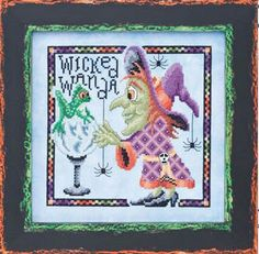Wicked Wanda Witch W Frog Spider Halloween Glendon Place Cross Stitch Pattern #GlendonPlace