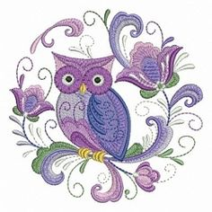 Rosemaling Owl 7 - 4x4 | What's New | Machine Embroidery Designs | SWAKembroidery.com Ace Points Embroidery