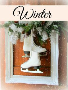 square wreath with white ice skates