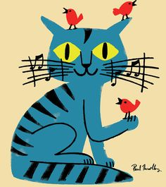 Paul Thurlby music cat birds illustration love this Vogel Illustration, Music Illustration, Illustrations, Friends Illustration, I Love Cats, Crazy Cats, Cool Cats, Vintage Cat, Cat Drawing