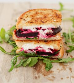 15 Grown-up Grilled Cheese Sandwich Recipes like this Beet, Goat Cheese and Arugula Grilled Cheese Sandwich.