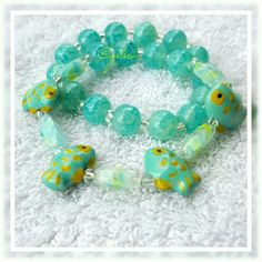 Mint fish nautical ocean bracelets Two gorgeously nautical themed, handcrafted, bracelets on stretch cord. High quality glass beads and elegant accents. Discounts given on bundles. Salty Grace  Jewelry Bracelets