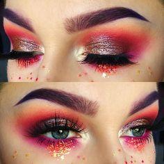 """Shadows: @meltcosmetics Radon and Love Sick, @Sugarpill Cosmetics Suburbia, @NYX Professional Makeup Primal Color in Hot Fuchsia, @Kat Von D @Kat Von D Beauty Thunderstruck, and…"""