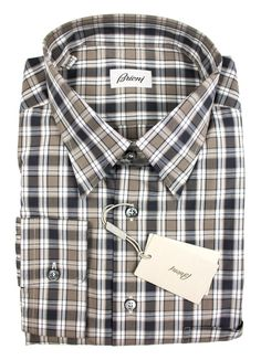 BRIONI Brown Black White Plaid Cotton Button-Down Shirt  |  Find yours! http://www.frieschskys.com/all-shirts/dress-shirts  |  #frieschskys #mensfashion #fashion #mensstyle #style #moda #menswear #dapper #stylish #MadeInItaly #Italy #couture #highfashion #designer #shopping