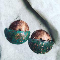 Aros de cobre con pátina turquesa