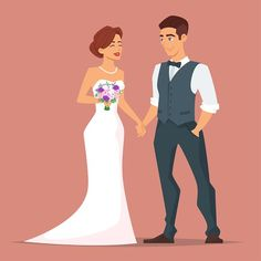 Vector cartoon style illustration of characters man and woman. Young happy newlyweds bride and groom. Just married couple. Romantic Fonts, Holiday Photography, Funny Meme Pictures, Couple Illustration, Wedding Images, Just Married, Cartoon Styles, Wedding Couples, Newlyweds