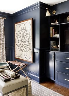 Home Library with Oversized Art, Glossy Walls and Wood, and Modern Brass Portrait Lights