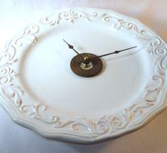 Wall Clock  Winter White Shabby Chic  Ceramic by makingtimetc, $38.00
