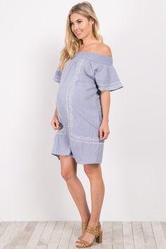 Blue Off Shoulder Embroidered Dress