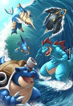 Fully evolved water type starting Pokemon all going for a surf. The use of layers and shadows here gives this illustration a great feeling of depth. The lights coming off the sky fit the scene great. Pokemon Fan Art, Pokemon Go, Pokemon Legal, Water Type Pokemon, Anime Pokemon, Pokemon Mashup, Cosplay Pokemon, Anime Quotes Tumblr, Pokemon Starters