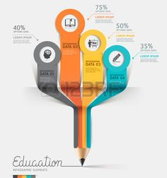 Education pencil Infographics step option. Vector illustration.  Stock Vector
