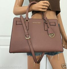 cool Michael Kors Leather Shoulder Satchel Saffiano Leathe Bag Purse Handbag Rose - For Sale