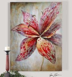 """The ever so popular lily beautifully hand painted on canvas  36"""" w x 48"""" h x 2"""""""