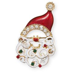 This brand new fashion pin makes a wonderful gift for Christmas and the holiday season! This brand new gold tone fashion pin has a red and white epoxy cut out style santa face design and it is accented with red, green and clear crystals, all measuring between 1.5 millimeters to 3.5 millimeters! S...