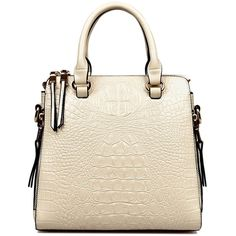 Crocodile Print Zippers Rivets Tote Bag (39 AUD) ❤ liked on Polyvore featuring bags, handbags, tote bags, crocodile handbag, zippered tote bag, white purse, zipper purse and crocodile tote