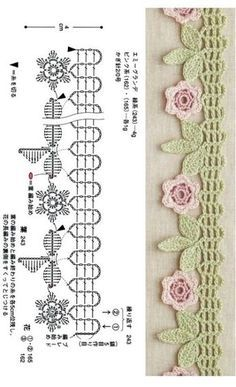 Crochet Edging Patterns, Crochet Lace Edging, Crochet Diagram, Crochet Chart, Crochet Trim, Crochet Designs, Crochet Flowers, Knitting Patterns, Crochet Flower Tutorial