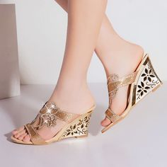 Womens Bohemia Wedge Heel Hollow Out RomaSummer Sandals Glitter Mule Plus Size