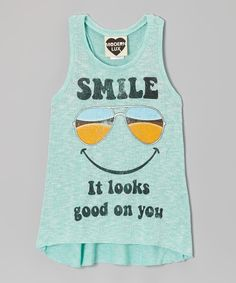 Take a look at this Mint 'Smile' Shades Tank - Girls on zulily today!