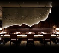 Love the hidden lights in the design . Nobu Japanese Restaurant Interior Design                                                                                                                                                                                 Más