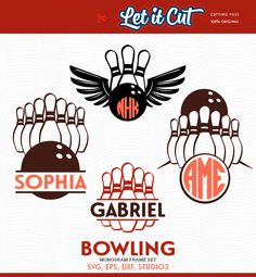 Bowling SVG #Monogram #Frames #(SVG, Eps, Dxf Studio3) Balls and Pins Cut Files f, View more on the LINK: http://www.zeppy.io/product/gb/3/260756479/