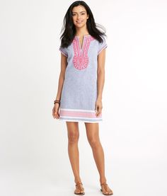Shop Stripe Embroidered Tunic Dress at vineyard vines