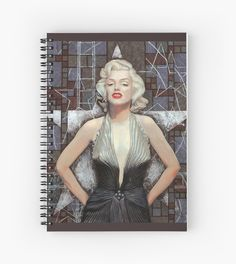Marilyn Monroe, Old Hollywood, celebrity art, brown shades | Spiral Notebook