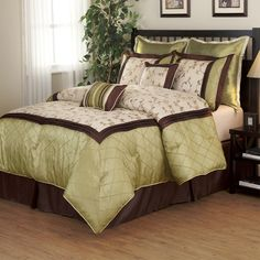 Savanna Green/ Brown 8-piece Comforter Set - Overstock™ Shopping - Great Deals on Comforter Sets