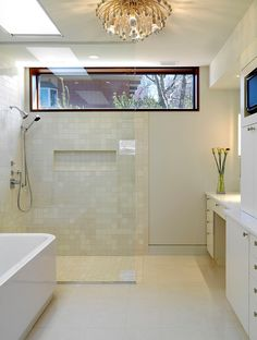 small horizontal shower niche under transom Woodvalley House - Bathroom contemporary bathroom Bathroom Windows In Shower, Small Bathroom With Shower, Window In Shower, Shower Niche, Master Bathroom, Small Bathrooms, Bath Window, Shower Bathroom, Glass Shower