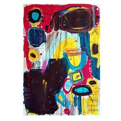 This modern and exclusive colorful #abstract wall art painting is unique, from my collection of #CMYK colors or basic colors. This abstract #expressionist original #artwork was hand painted with acrylics, pencils, gouache and ink on lithography paper. 110cm x 77cm x 5cm (30″ x 43) Abstract Wall Art, Basic Colors, Zine, Printmaking, Original Artwork, Hand Painted, Art Prints, Artist, Painting