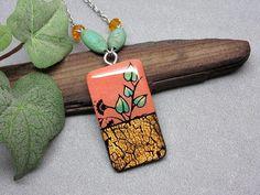 Long pendant necklace floral necklace orange and copper Polymer Clay Necklace, Long Pendant Necklace, Floral Necklace, Floral Design, Copper, Hand Painted, Drop Earrings, Orange, Crystals