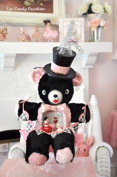 Parisian Bear ~ Vintage stuffed assemblage