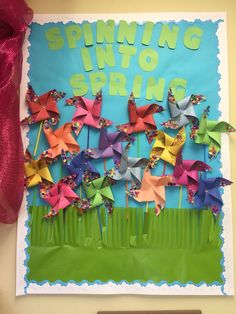 spring bulletin board (image only) Butterfly Bulletin Board, Spring Bulletin Boards, Preschool Bulletin Boards, Classroom Bulletin Boards, March Bulletin Board Ideas, Classroom Door, Classroom Themes, Spring School, Sunday School