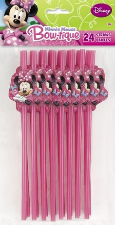 Minnie Mouse Party Favors - 24 Decorative disposable straws (bestseller)